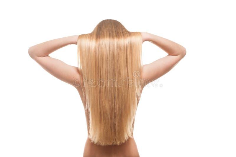 Porträt Blondine mit dem wunderbaren Haar stockbilder