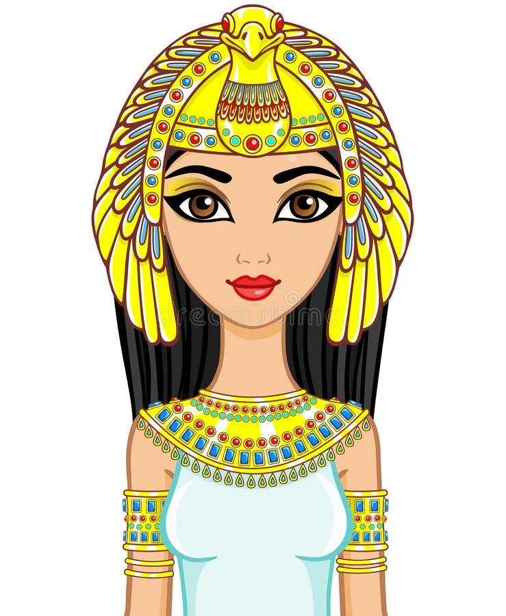Porträt der ägyptischen Prinzessin der Animation im Goldschmuck Göttin Isida Die Vektorillustration lokalisiert auf einem weißen  lizenzfreie abbildung
