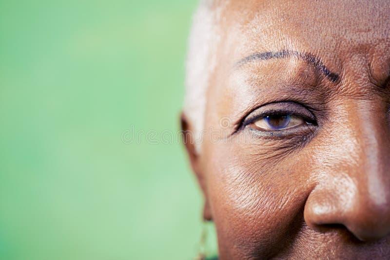 Porträt der älteren Frau, der Nahaufnahme des Auges und des Gesichtes lizenzfreies stockfoto