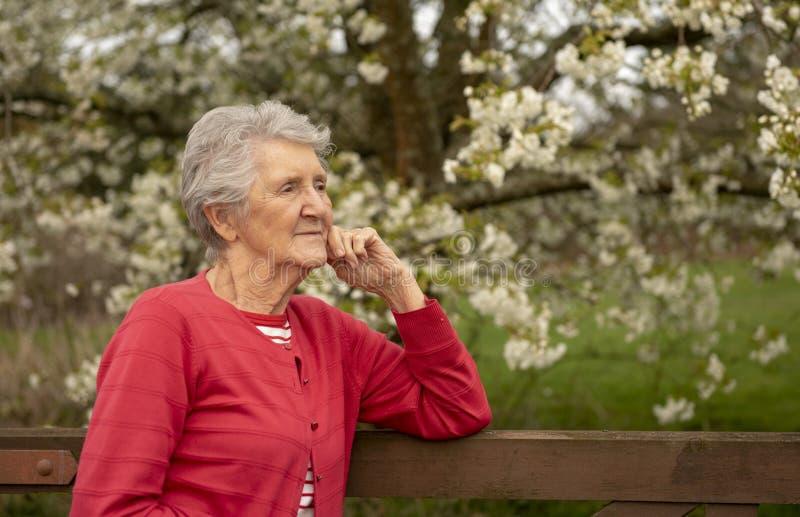 Porträt der älteren Frau im Freien im Frühjahr stockfotografie