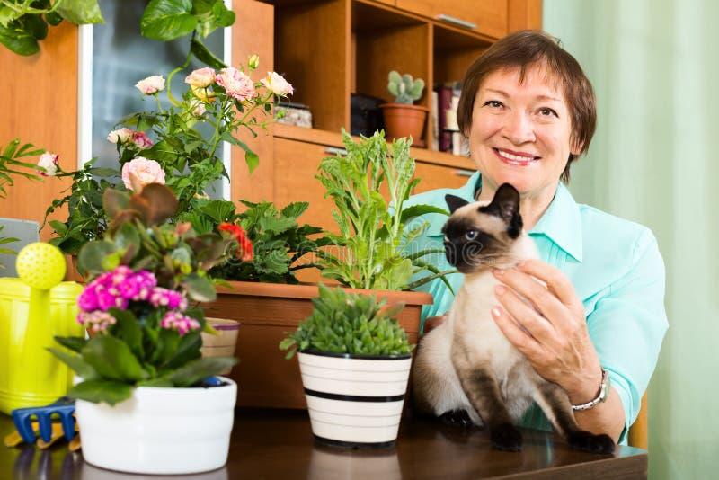 Porträt der älteren Frau mit Zierpflanzen und Katze lizenzfreie stockbilder