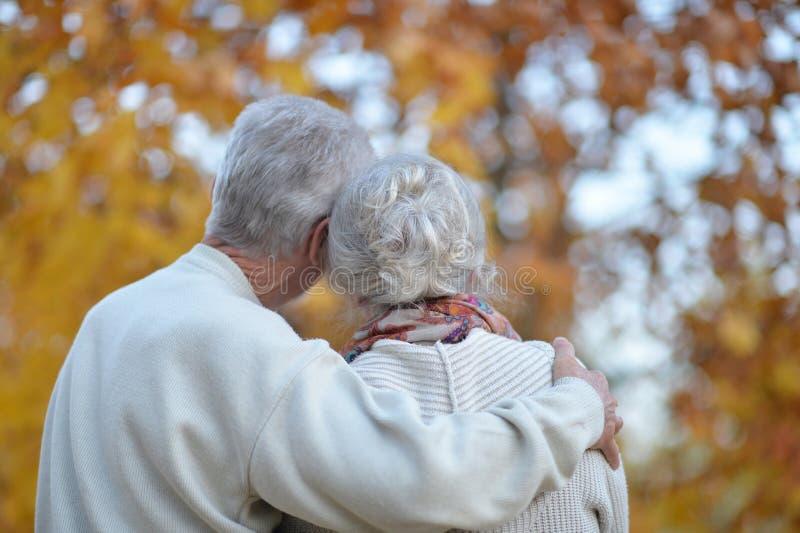Porträt der älteren Frau und des Mannes im Park lizenzfreie stockfotografie