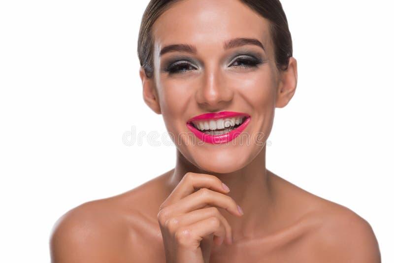 Porträt der überglücklichen Frau stockbild