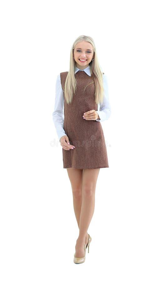Porträt der attraktiven Verwalterfrau in Geschäftsuniform O lizenzfreie stockfotografie