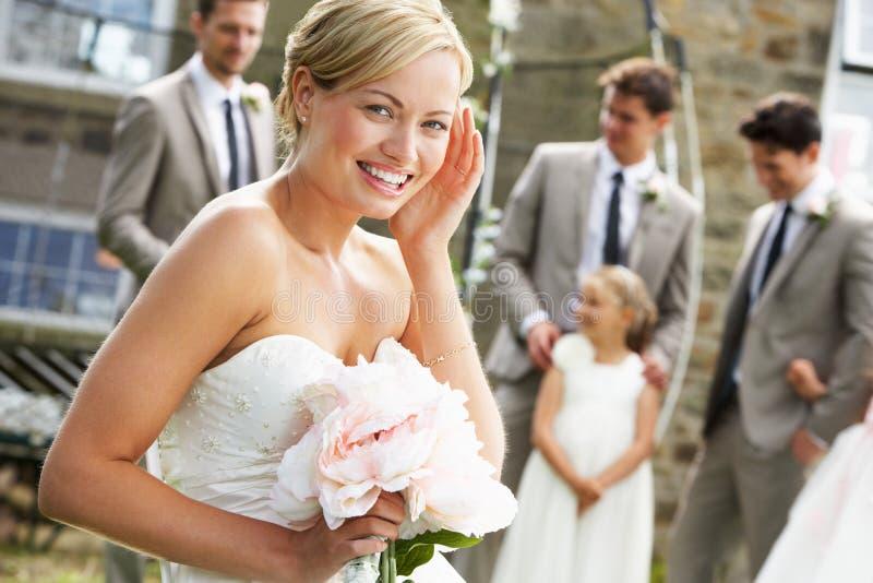 Porträt der Braut an der Hochzeit stockfoto