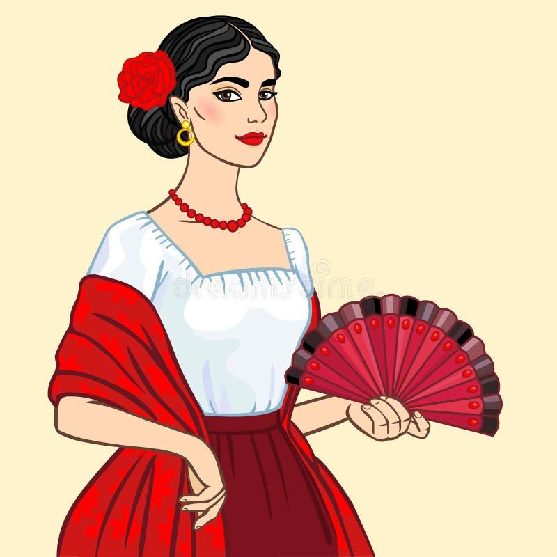 Porträt der dunkelhaarigen Frau in der alten nationalen Kleidung mit einem Fan lizenzfreie abbildung