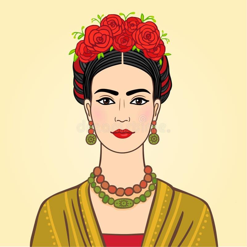 Porträt der dunkelhaarigen Frau mit einem alten vektor abbildung