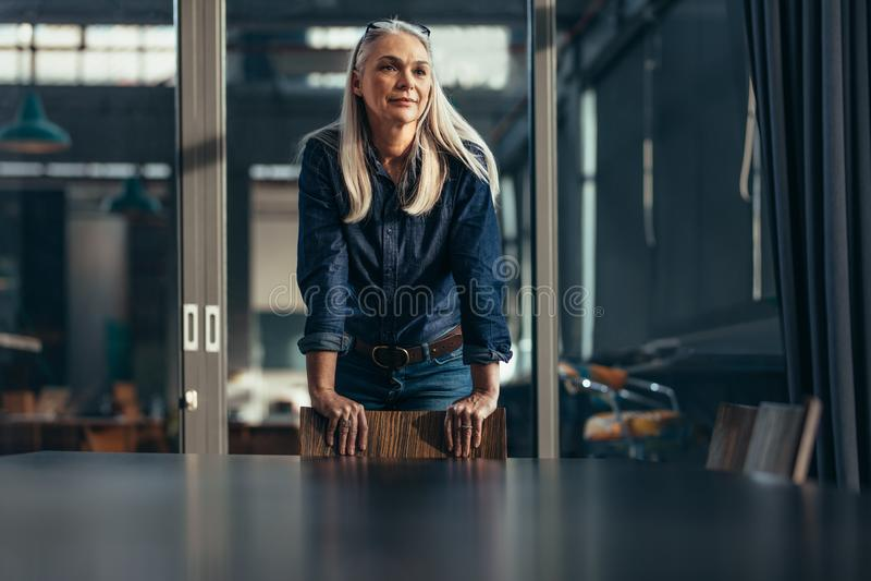 Porträt der erfolgreichen älteren Geschäftsfrau stockbild