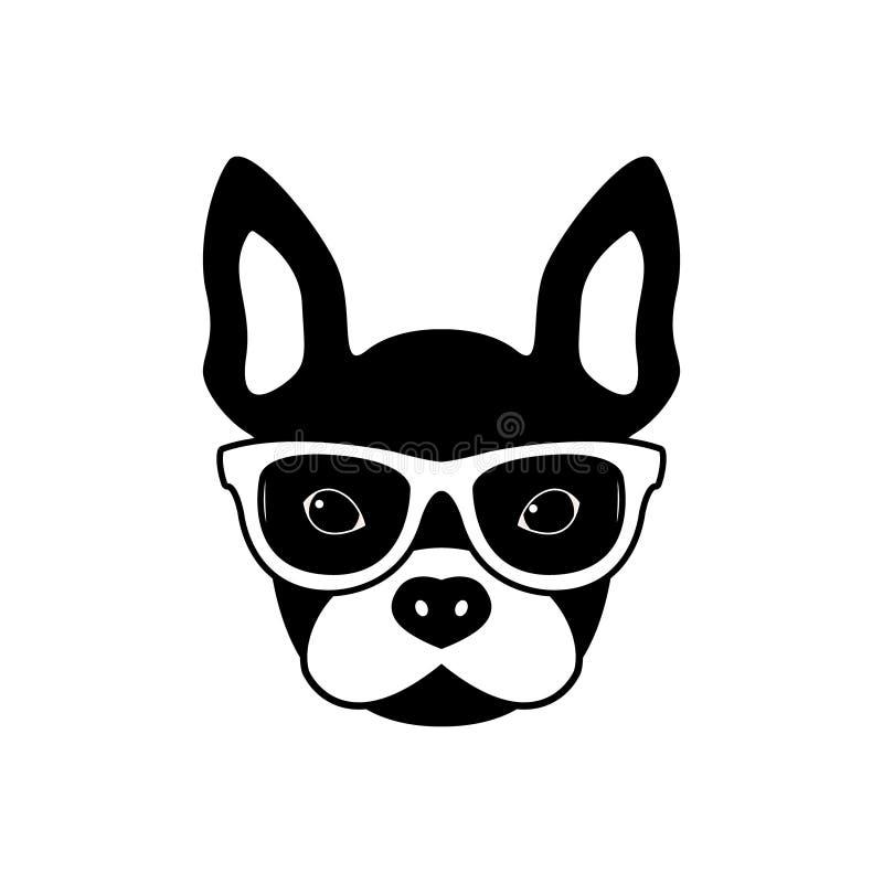 Porträt der französischen Bulldogge mit Gläsern, flache Schwarzweiss-Art vektor abbildung