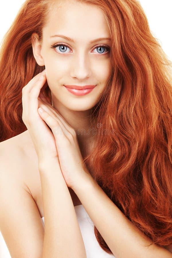 Porträt der Frau mit dem schönen Haar stockfotografie