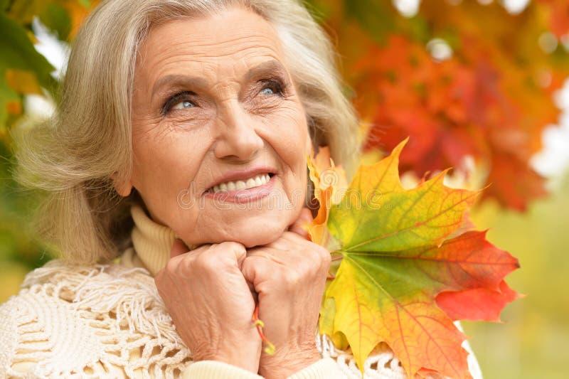 Porträt der glücklichen älteren Frau, die im Herbstpark lächelt und aufwirft lizenzfreies stockbild