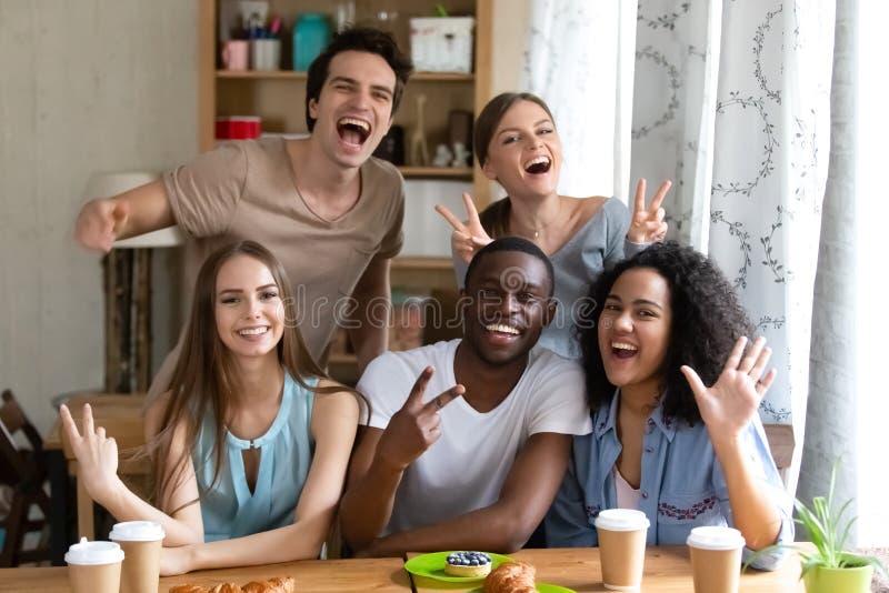 Porträt der glücklichen überglücklichen Freundgruppe der Mischrasse stockfotografie