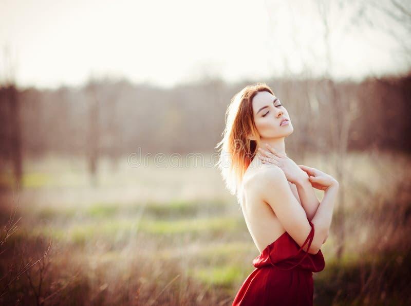 Porträt der herrlichen jungen Frau, die rotes Kleid auf dem Gebiet bei Sonnenuntergang trägt lizenzfreies stockfoto