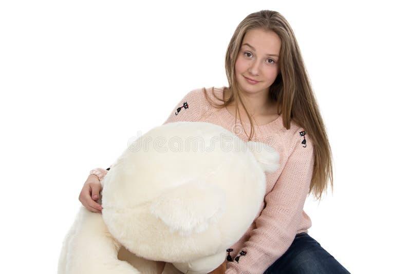 Porträt der Jugendlichen mit Teddybären lizenzfreies stockbild