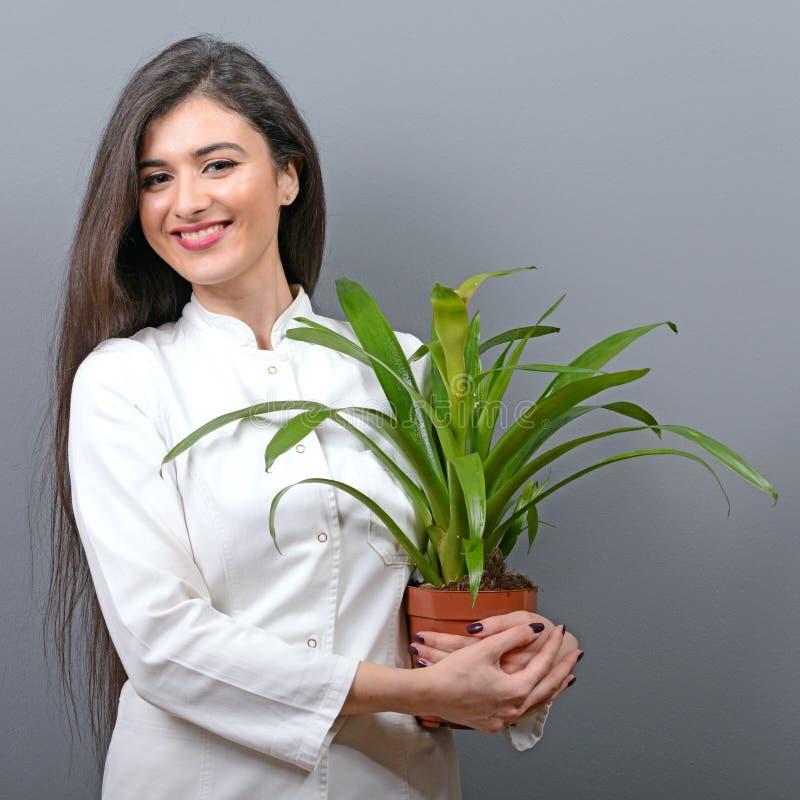 Porträt der jungen Botanikerfrau in der Uniformholdinganlage gegen grauen Hintergrund lizenzfreie stockfotografie