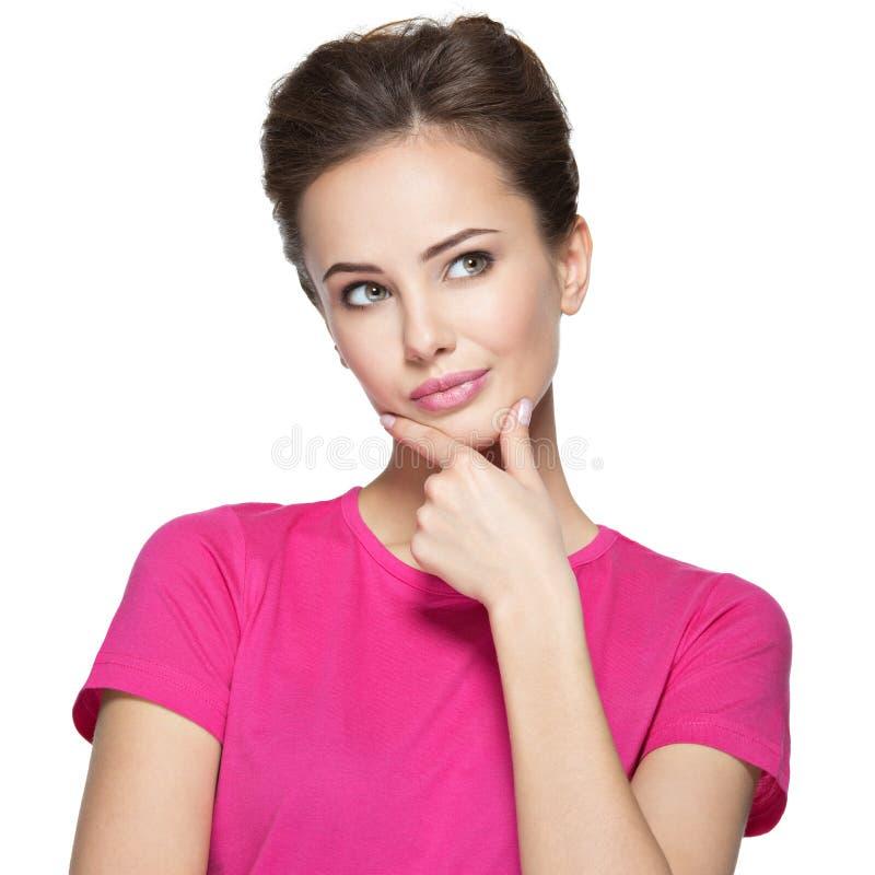 Porträt der jungen denkenden Frau mit irgendeinem Problem stockfotos