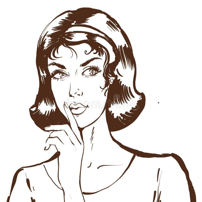 Porträt der jungen Frau, das Ruhe guesture in der Skizzenlinie Kunstartschwarzweißabbildung zeigt stock abbildung