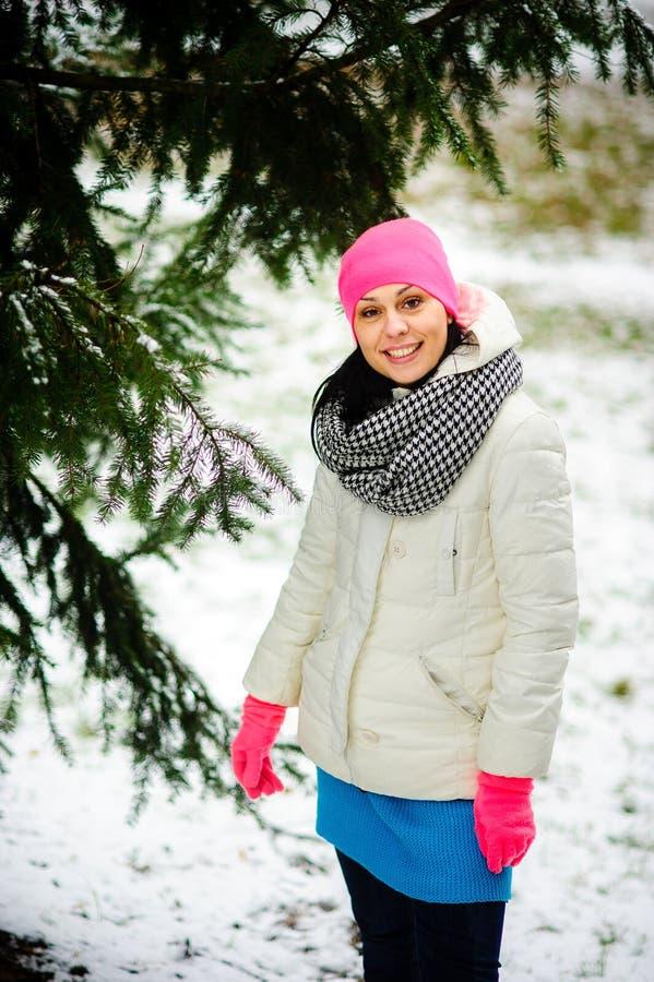 Porträt der jungen netten Frau im Winterpark stockfotos