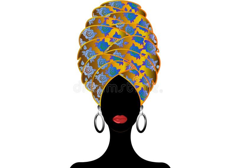 Porträt der jungen schwarzen Frau in einem Turban Animations-Afrikanerschönheit Vector die Farbillustration, die auf einem weißen vektor abbildung