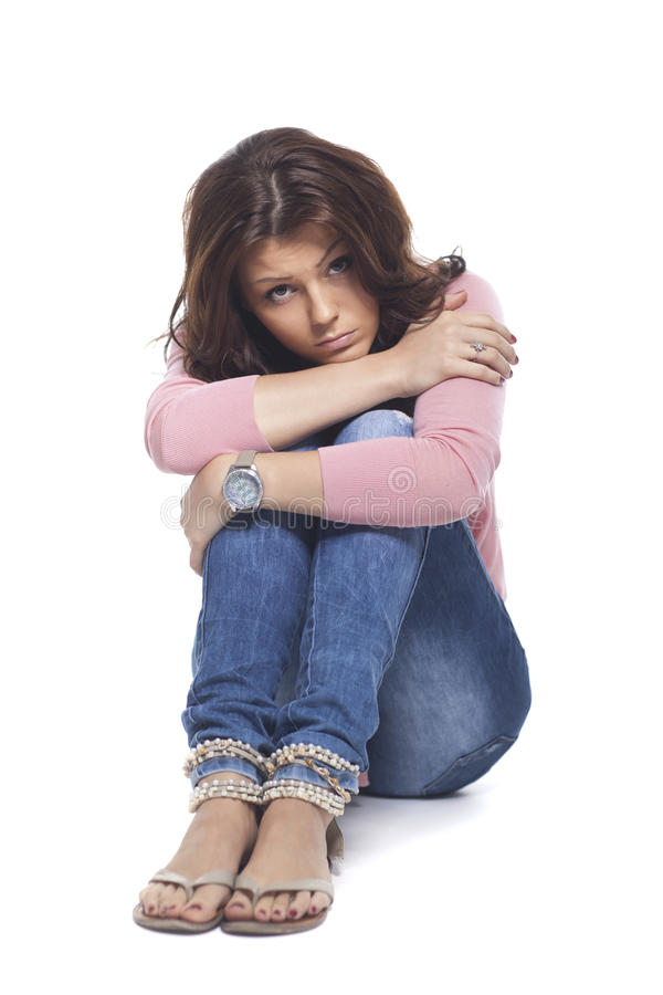 Porträt der jungen traurigen Frau stockfoto