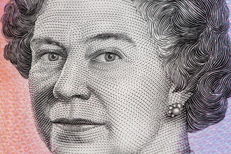 Porträt der Königin Elizabeth II - closeu Dollarschein des Australiers 5 stockbild