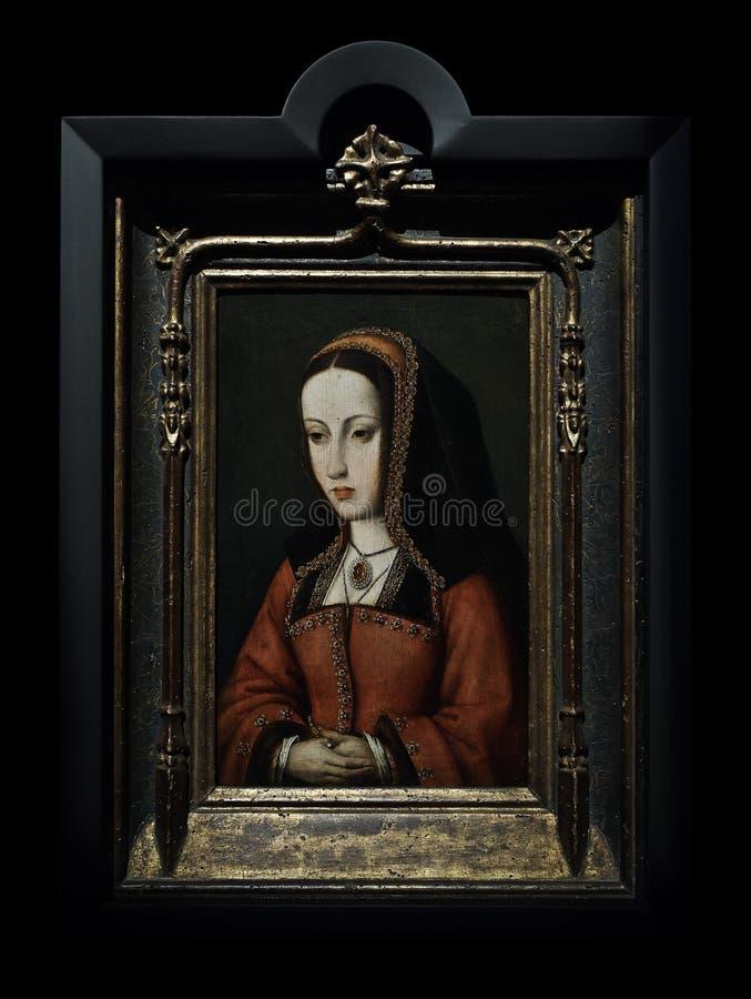 Porträt der Königin Juana I von Kastilien Anonym, XVI Jahrhundert, Öl auf Tafel stockfotografie