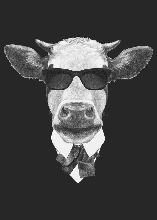 Porträt der Kuh in der Klage lizenzfreie abbildung