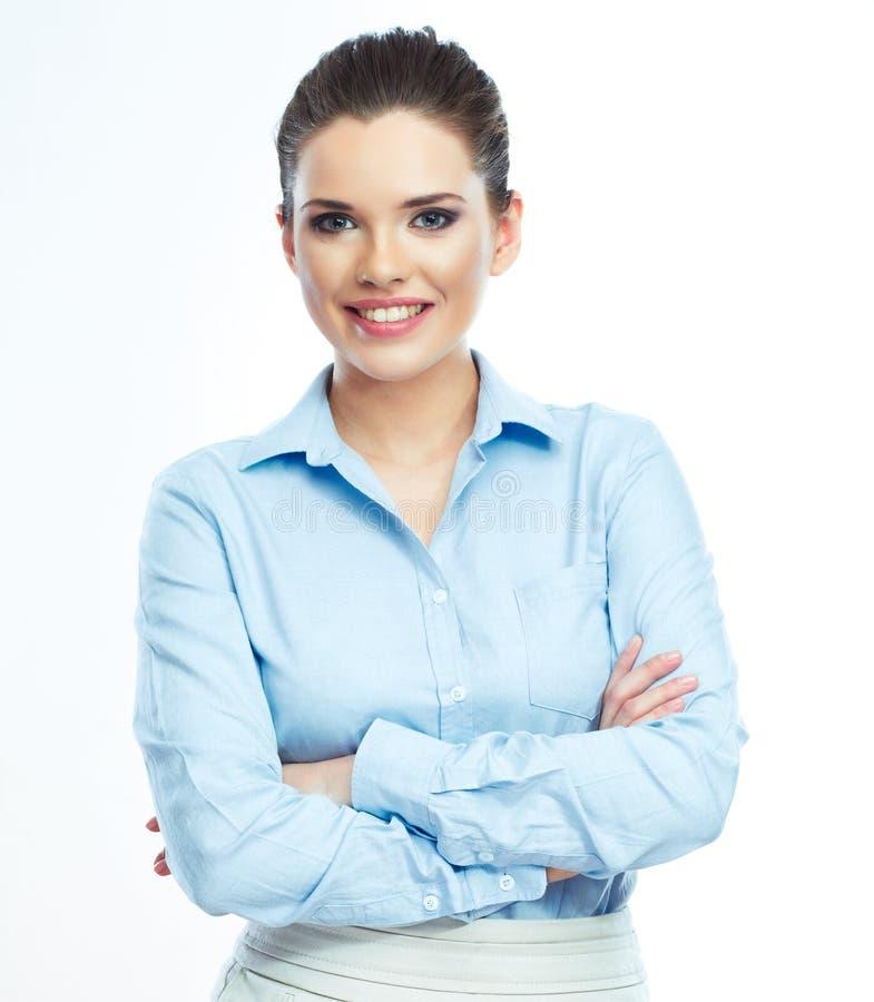 Porträt der lächelnden Geschäftsfrau, lokalisiert lizenzfreies stockfoto