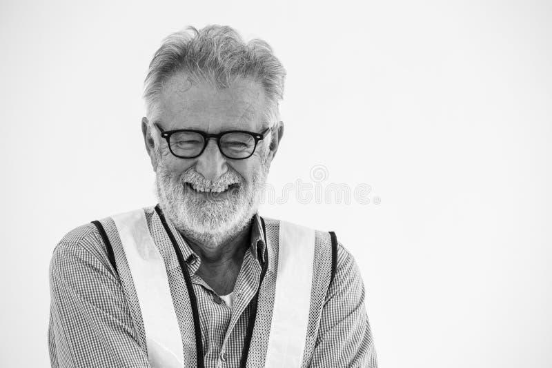 Porträt der lächelnden glücklichen Arbeitskraft des leitenden Ingenieurs lizenzfreies stockbild
