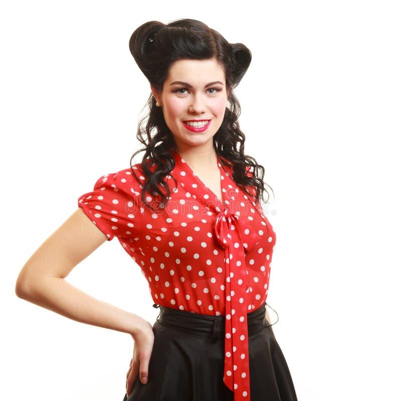 Porträt der Mädchenfrau mit Pinupmake-up und -frisur Retro- Art lizenzfreies stockbild