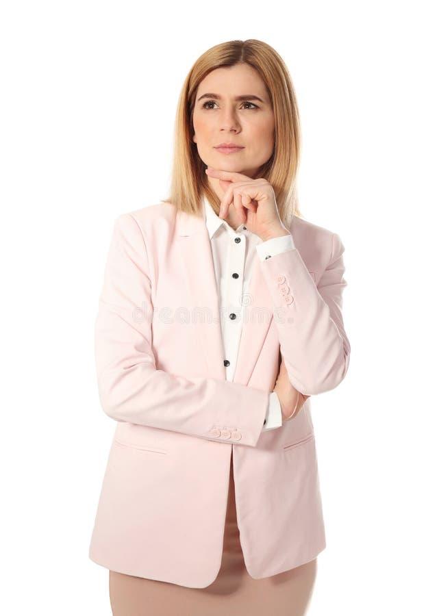 Porträt der nachdenklichen Geschäftsfrau stockbilder