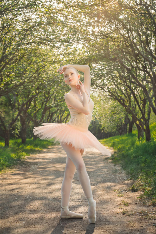 Porträt der schönen Ballerina mit romantischem und zartem Gefühl stockfoto