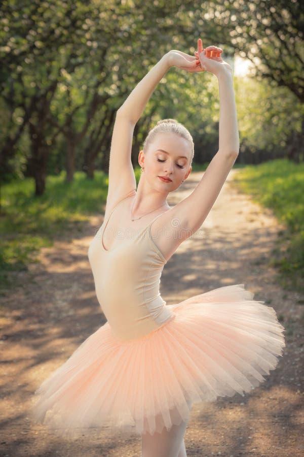 Porträt der schönen Ballerina mit romantischem und zartem Gefühl lizenzfreie stockfotos