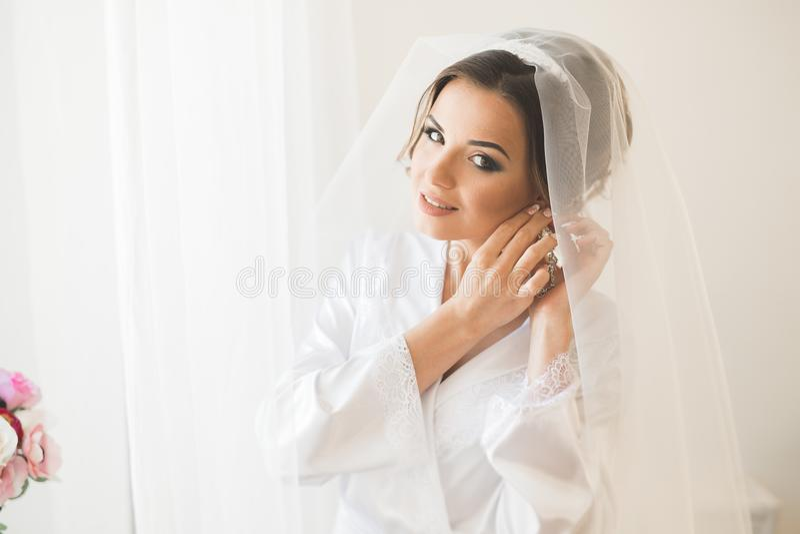 Porträt der schönen Braut mit Modeschleier am Hochzeitsmorgen stockfotografie