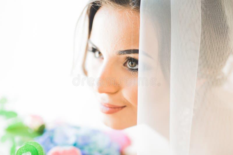 Porträt der schönen Braut mit Modeschleier am Hochzeitsmorgen stockfoto