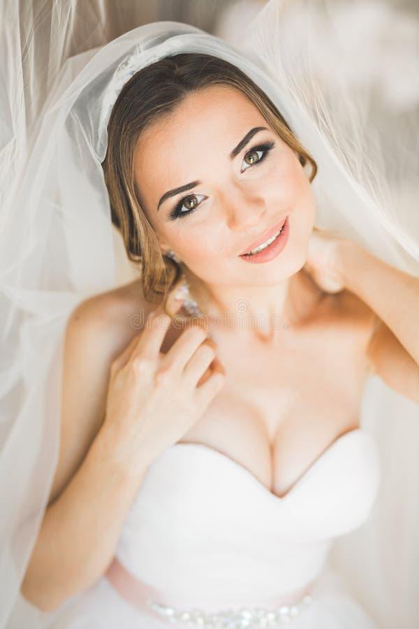 Porträt der schönen Braut mit Modeschleier am Hochzeitsmorgen stockfotos