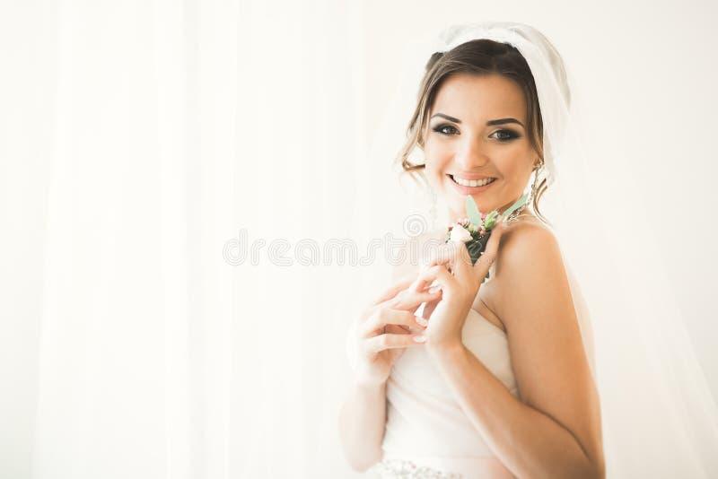 Porträt der schönen Braut mit Modeschleier am Hochzeitsmorgen lizenzfreie stockfotografie