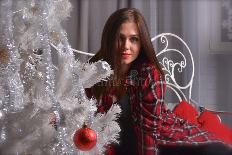 Porträt der schönen jungen Frau ist naher Weihnachtsbaum lizenzfreie stockbilder