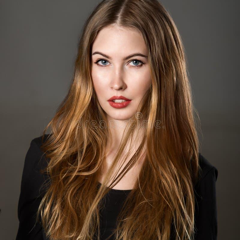 Porträt der schönen jungen Frau mit dem braunen Haar und Make-up lizenzfreie stockbilder