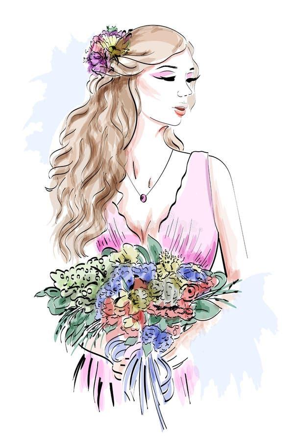 Porträt der schönen jungen Frau mit dem gelockten Haar und Blume winden Stilvolle Skizze lizenzfreie abbildung