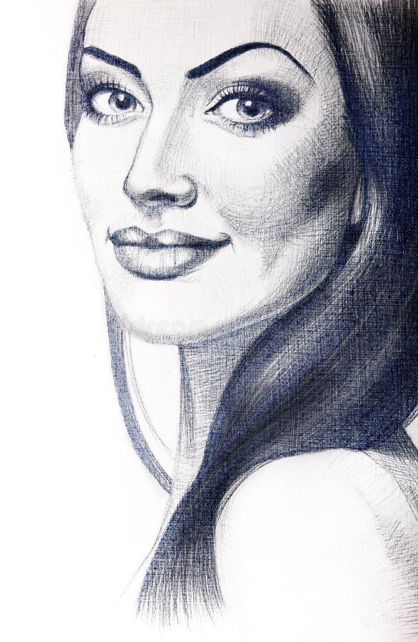 Porträt der schönen jungen Frau mit dem langen Haar lizenzfreie stockbilder