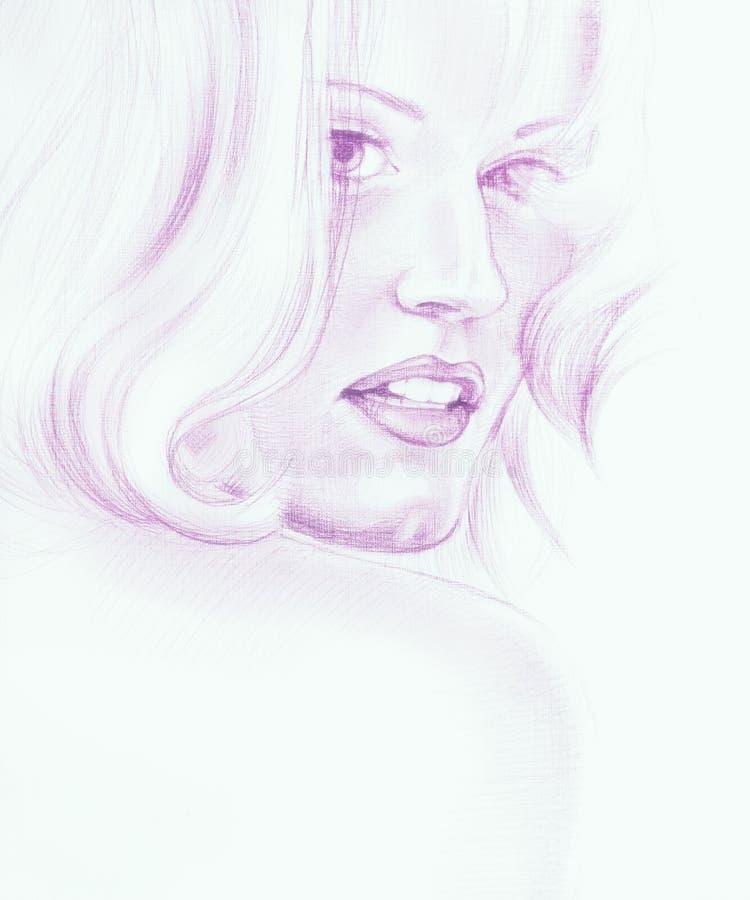 Porträt der schönen jungen Frau mit dem langen Haar stockfotos