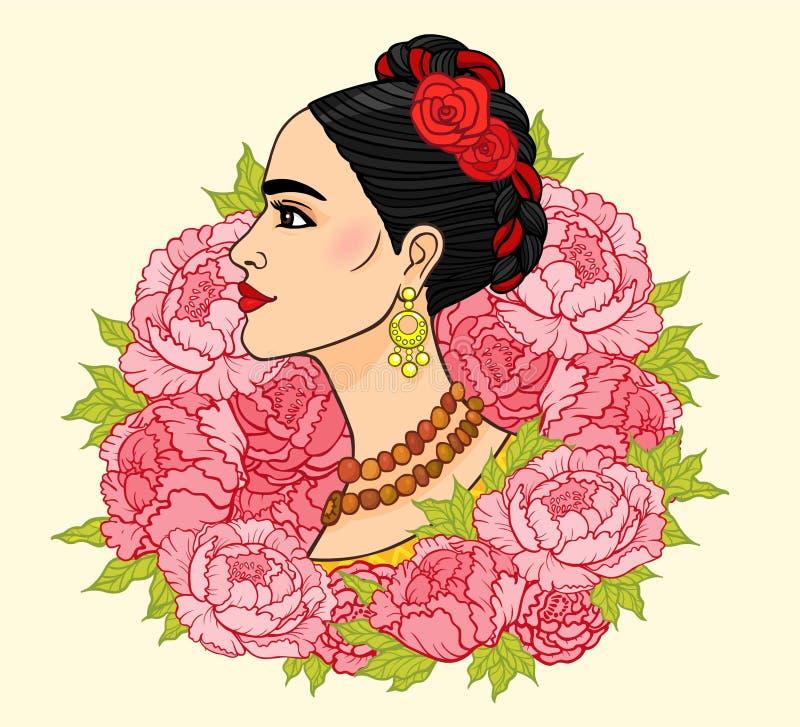 Porträt der schönen mexikanischen Frau eine alte Frisur stock abbildung