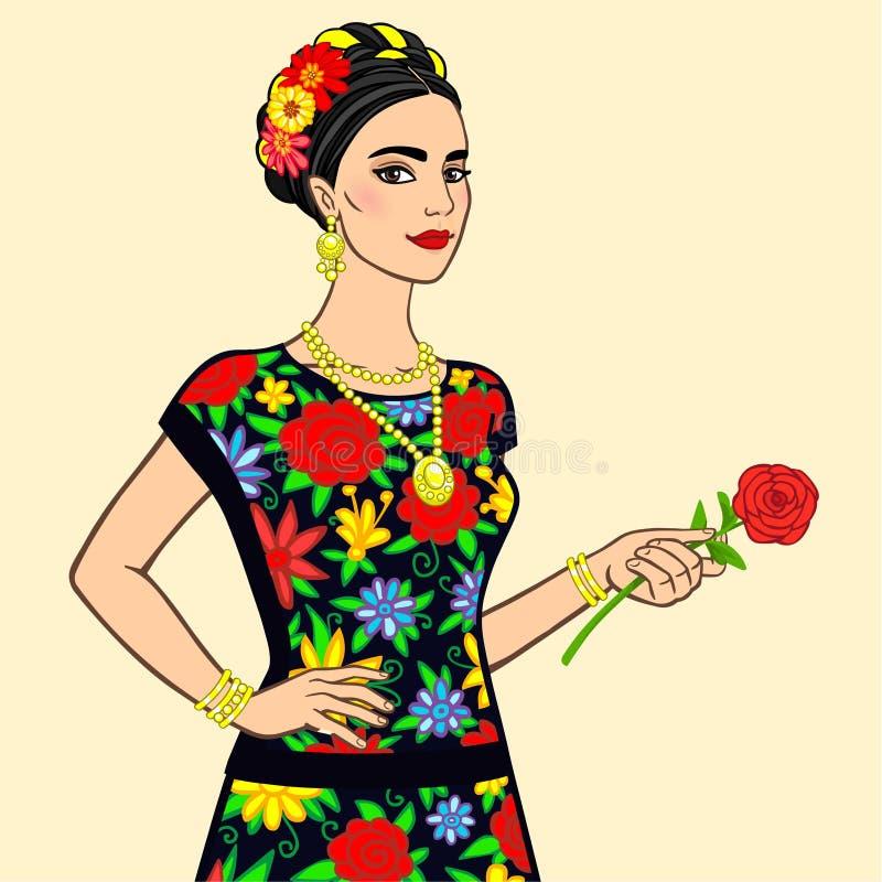 Porträt der schönen mexikanischen Frau in einem festlichen Kleid mit einer Rose in einer Hand stock abbildung