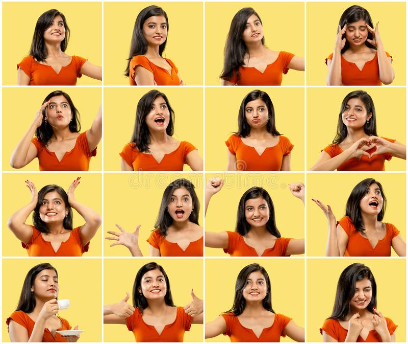 Porträt der Schönheit auf gelbem Studiohintergrund collage lizenzfreie stockbilder