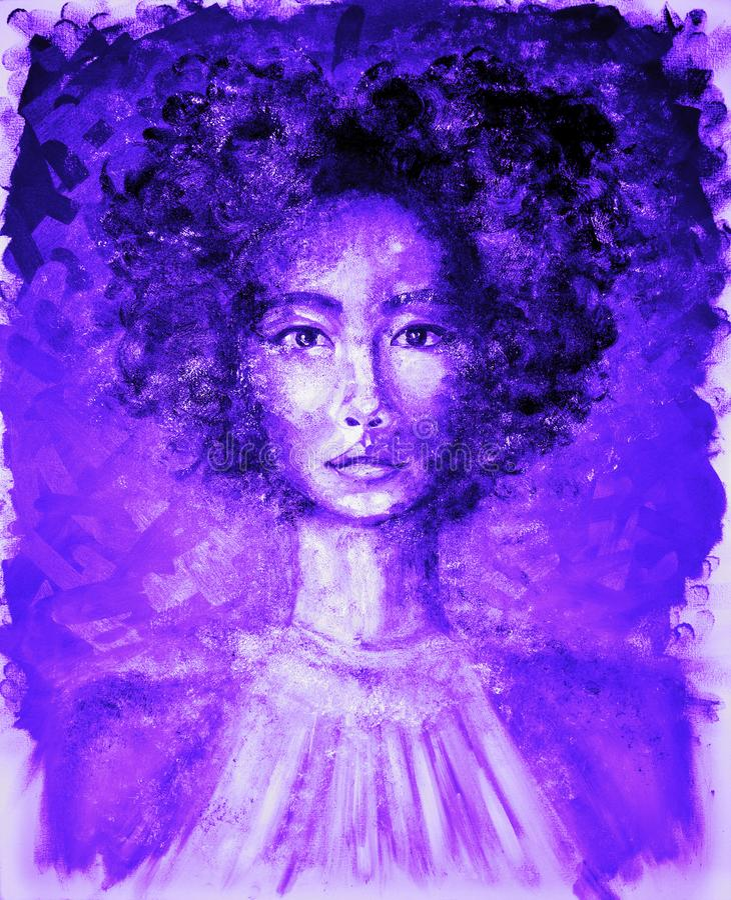 Porträt der Schönheit im ultravioletten NeonÖlgemälde stockbilder