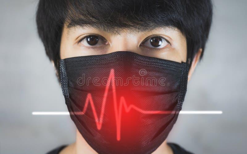 Porträt der tragenden Vermeidung von Umweltverschmutzung des Mannes oder der Grippemaske mit Gefahr stockfotos
