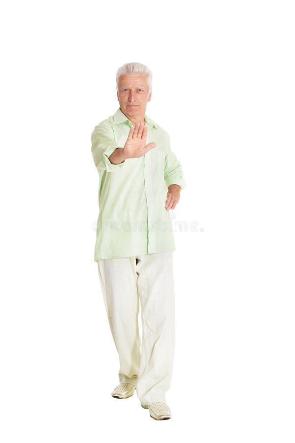 Porträt der Vertretungsendgeste des älteren Mannes auf weißem Hintergrund lizenzfreies stockbild