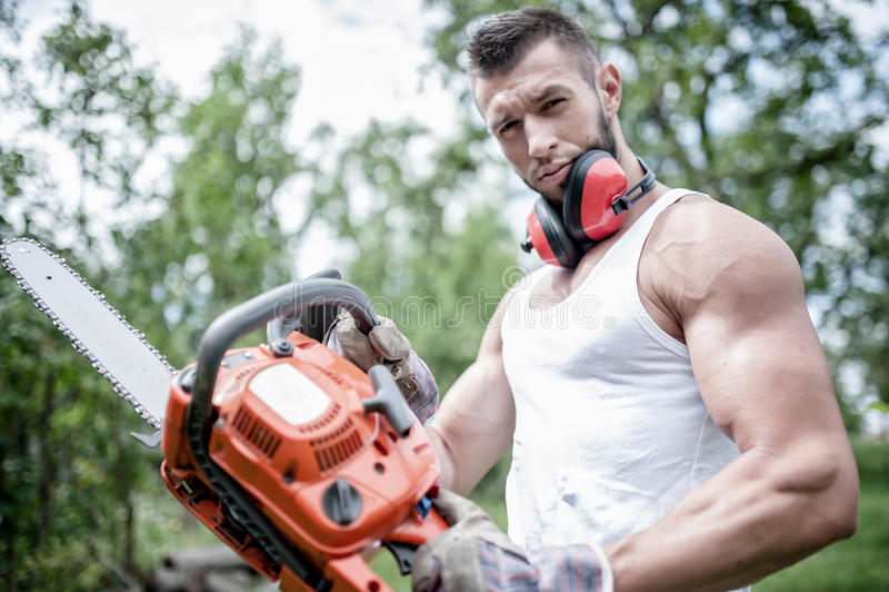 Porträt des aggressiven muskulösen männlichen Holzfällers, Tischler lizenzfreie stockfotografie