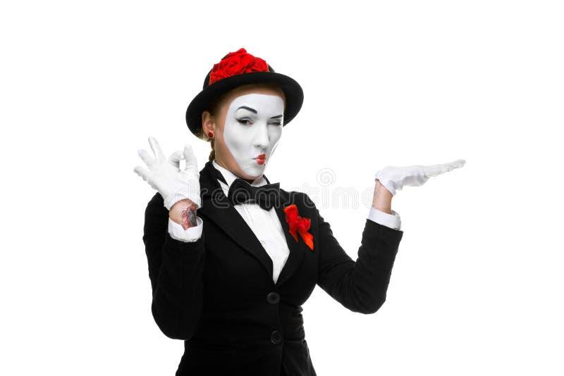 Porträt des anerkennend Pantomimen stockfotos